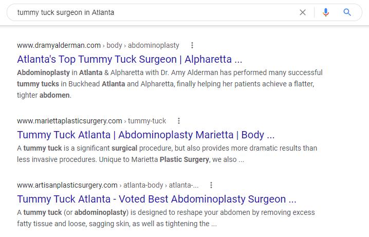 """Google search for """"Tummy tuck in Atlanta"""""""