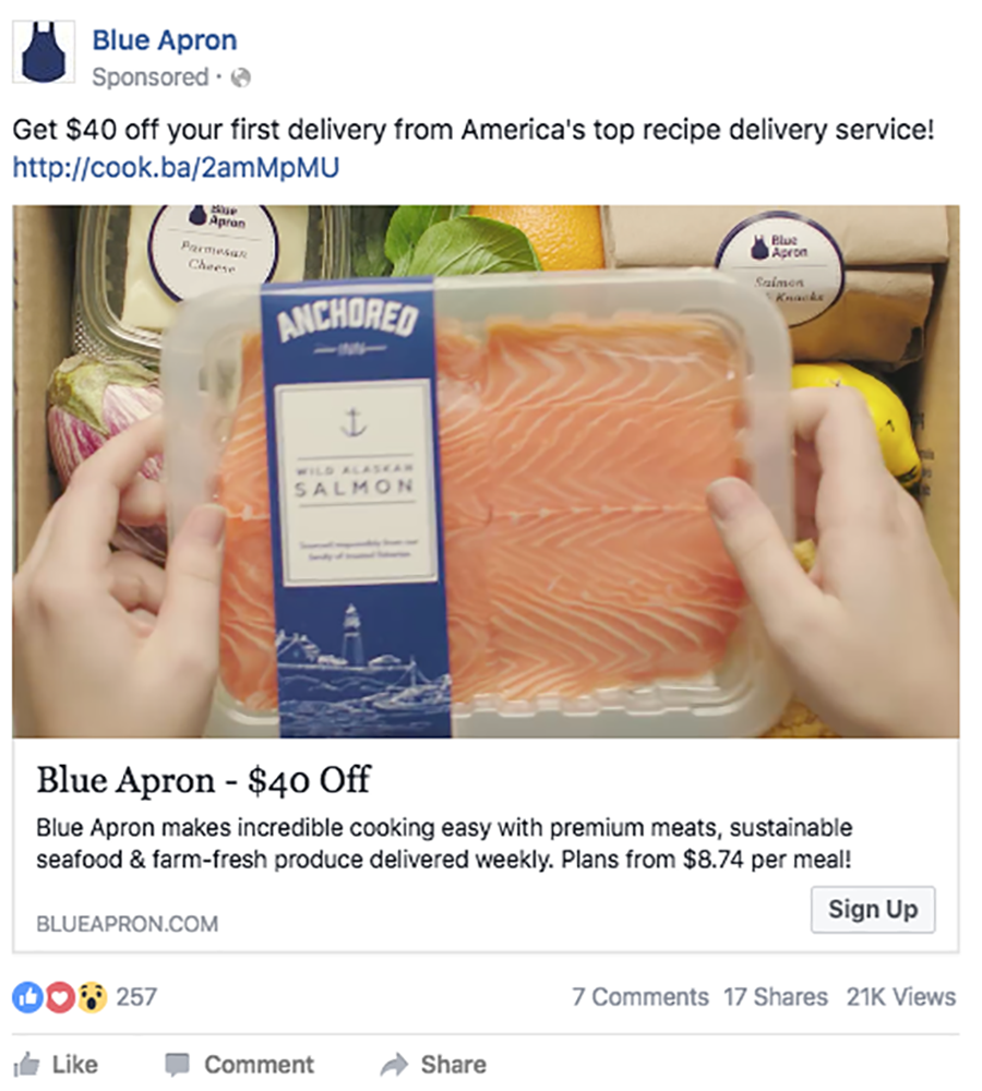 blue apron facebook ad