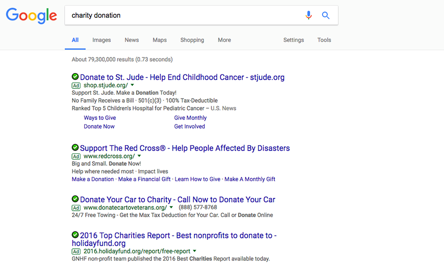 charity donations google search