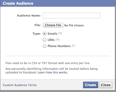 facebook create audience