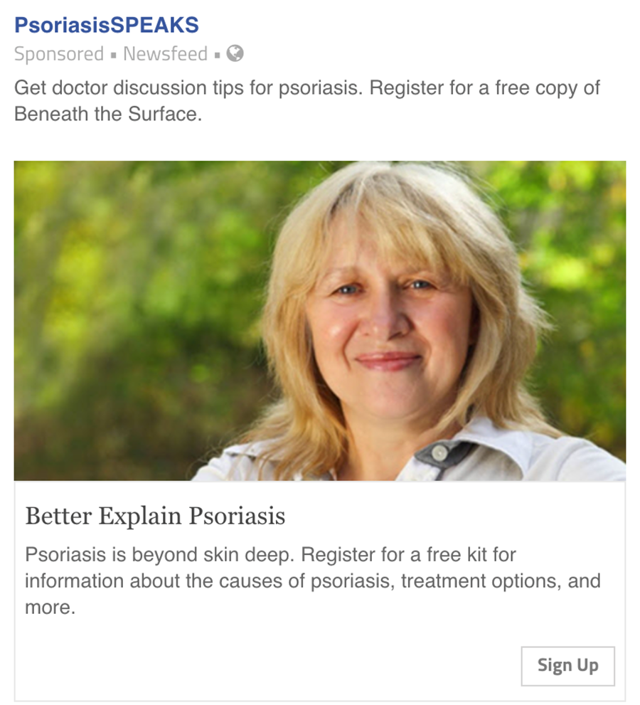 psoriasis speaks facebook ad