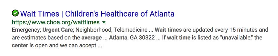 childrens healthcare of atlanta google result