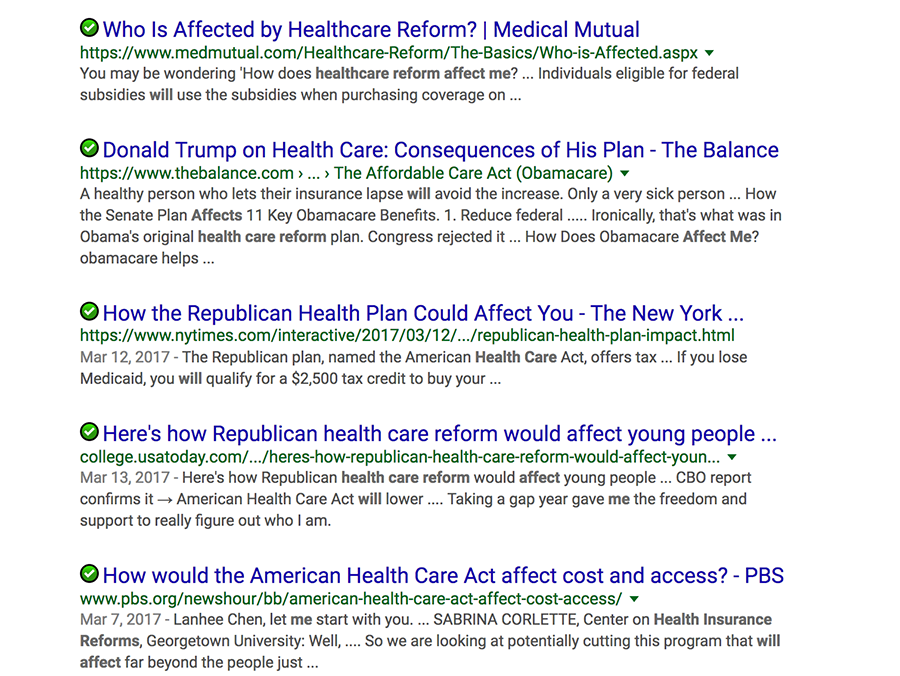 healthcare plan search results
