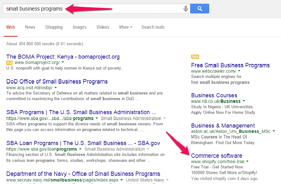 small business programs google search