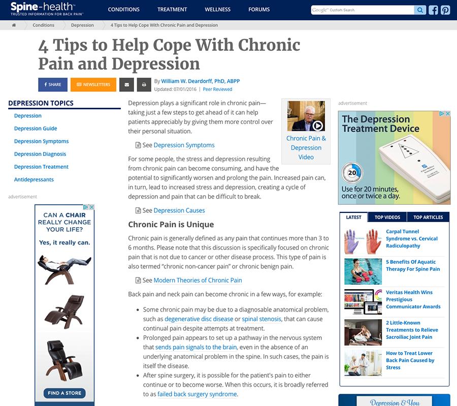 spine health website screenshot