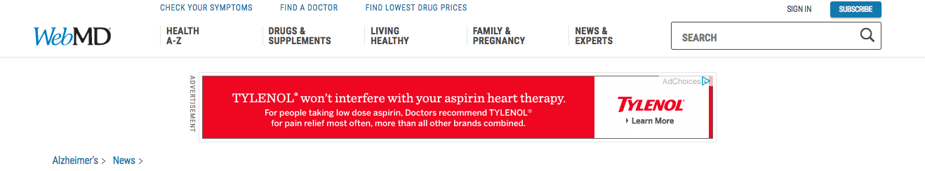 tylenol display ad on webMD