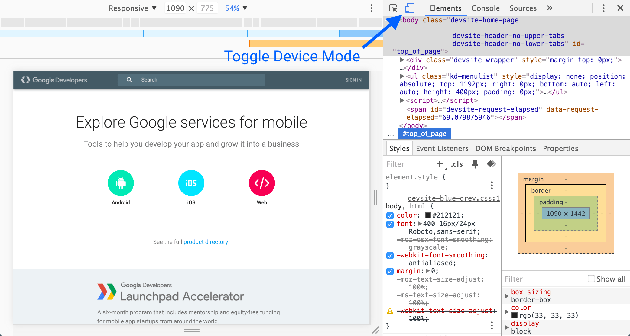 chrome dev tools accessing the device mode toggle