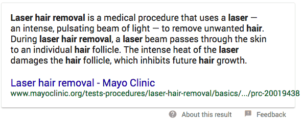 example of laser hair removal featured snippet