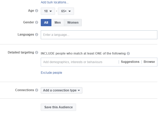 When creating facebook advertising campaign, select age, gender and language of your targeted audience