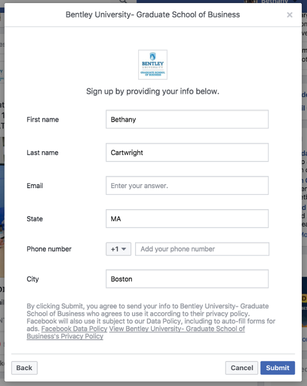 Collect Leads through Sign Up Form without leaving Facebook