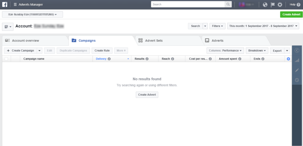 Creating Facebook Ads - Dashboard