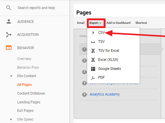 Export Data from Google Analytics