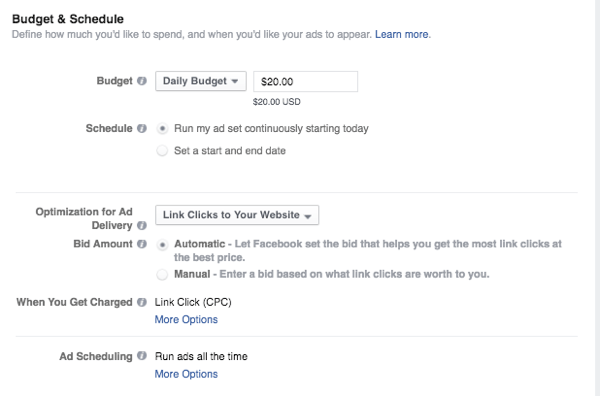 Facebook Advertising - Creating Budget and Schedule for Advert