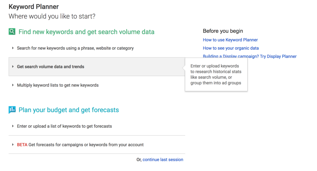Creating PPC campaign - keyword planner