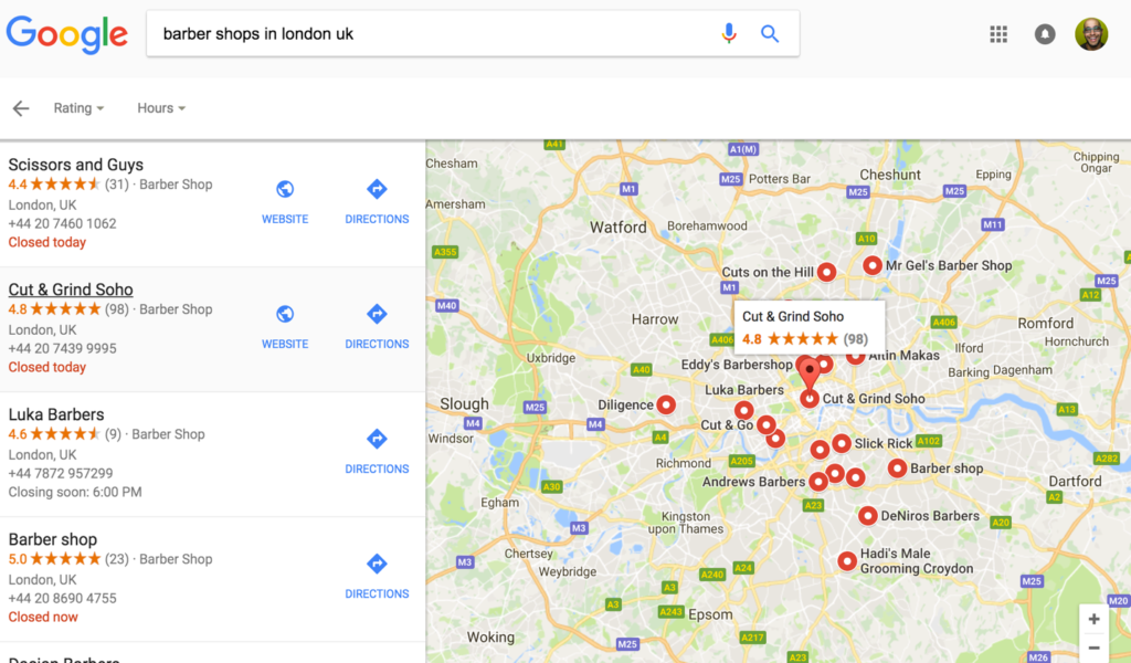 Initial Search Results - Local Businesses Displayed after google search performed