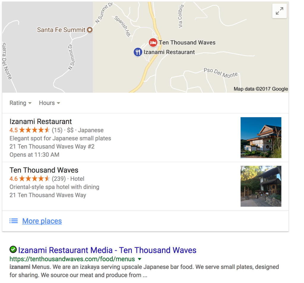 Displaying Search Results on Google for Local Business Query