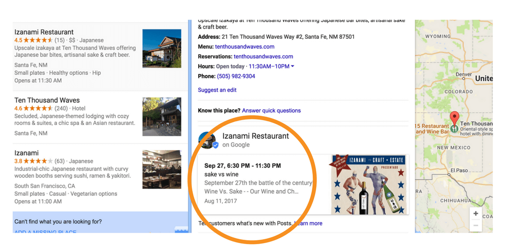 Google Local Business Search Result opened up with further details