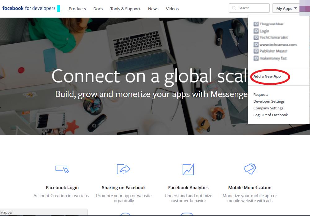 Facebook developers adding a new app