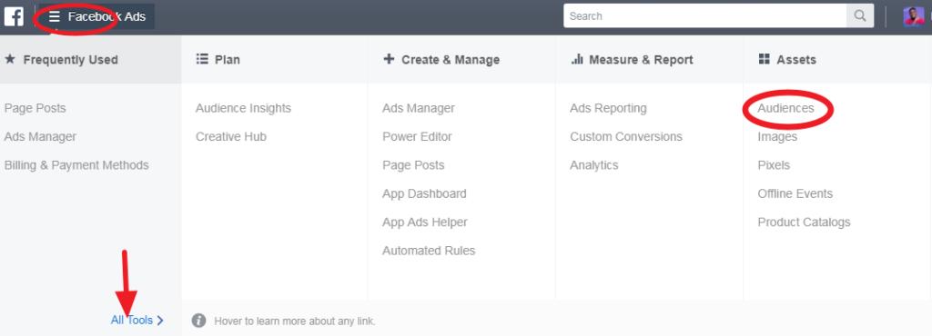 Navigate to audience settings to create custom audience