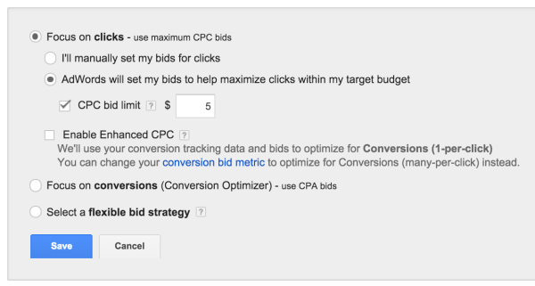 Choosing an option to set up cost per click automatically by AdWords