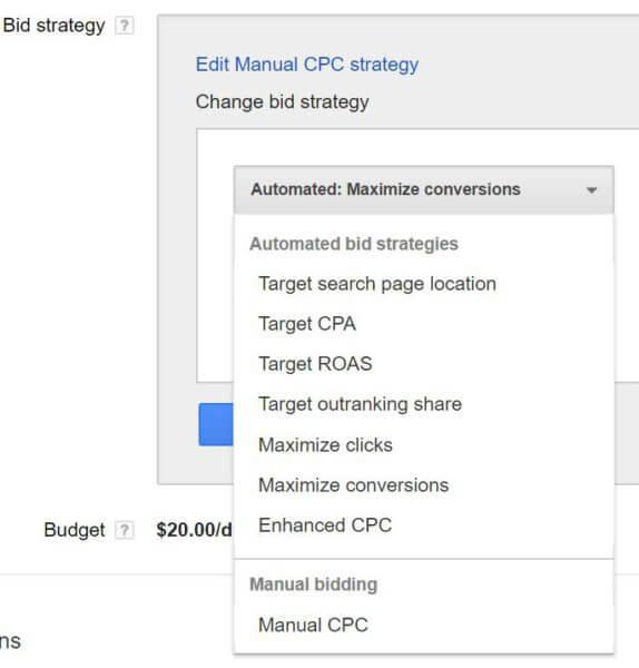 Maximize Conversions bid strategy