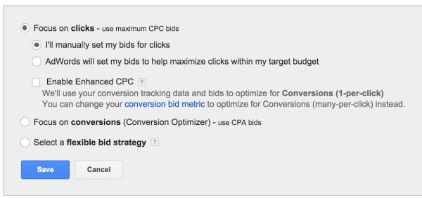 Manually setting up costs per click