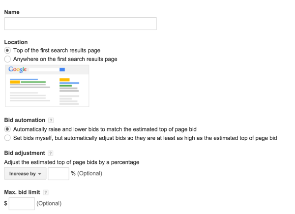 Search Page Location strategy allows an option to increase or decrease bids based on their location on search page