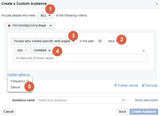 Choosing parameters for custom audience set up
