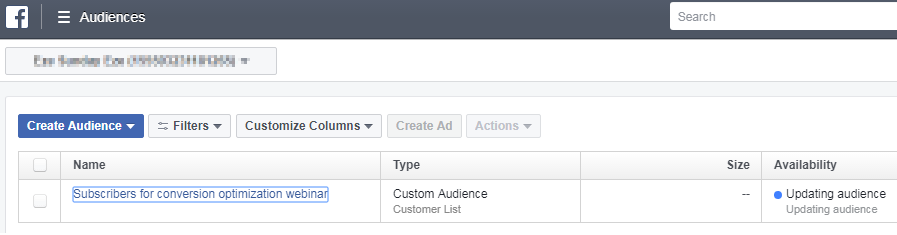 Facebook create audience dashboard