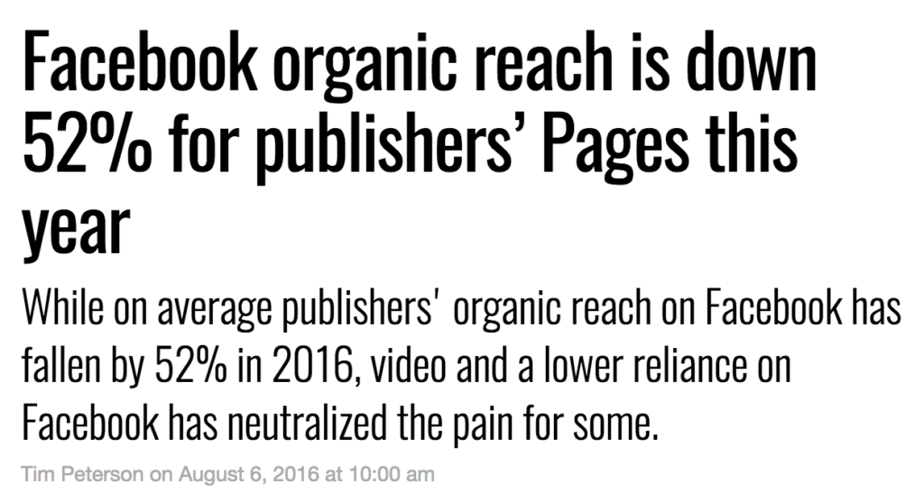 Facebook organic reach is down 52%