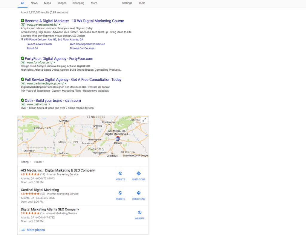 Google SERP - right side paid search ads removed from the right side