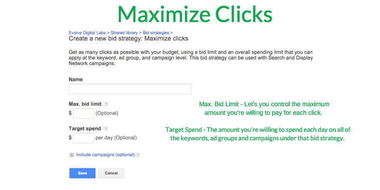 Maximize clicks strategy maximizes the volume of the clicks made available for your budget
