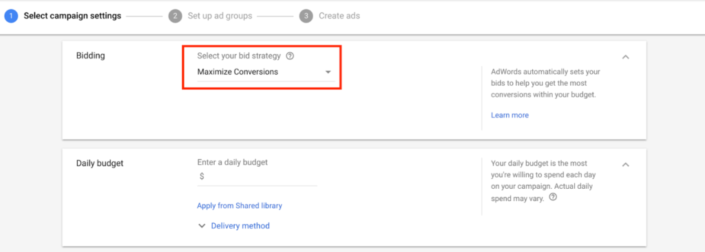 Maximize Conversions strategy automatically sets your bids in a way to help you get the most conversions from your campaigns