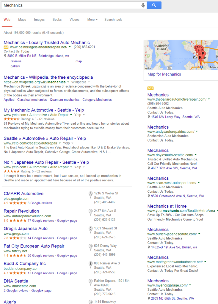 Search Results page for general query Mechanic
