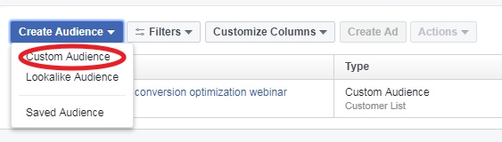 Setting up custom audience for website visitors