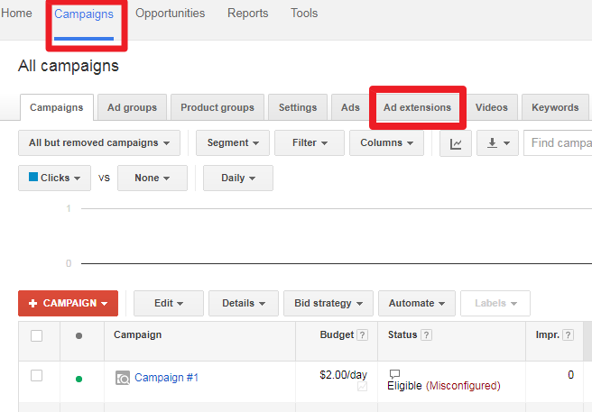 Enabling location extension in Google AdWords