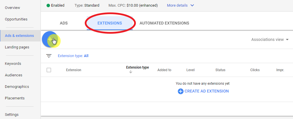 Using new AdWords Experience enabling location extension - first step