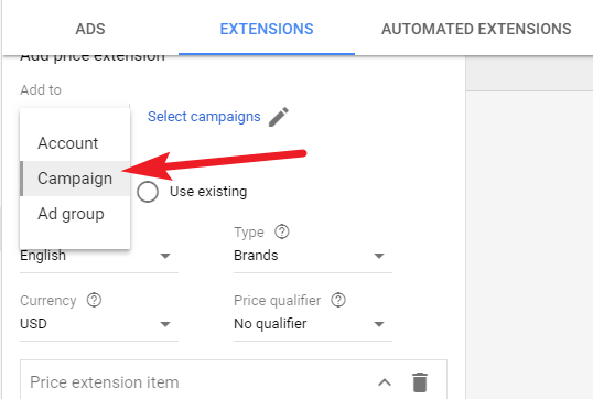 Add Price Extension to Ad Gropup or Campaign