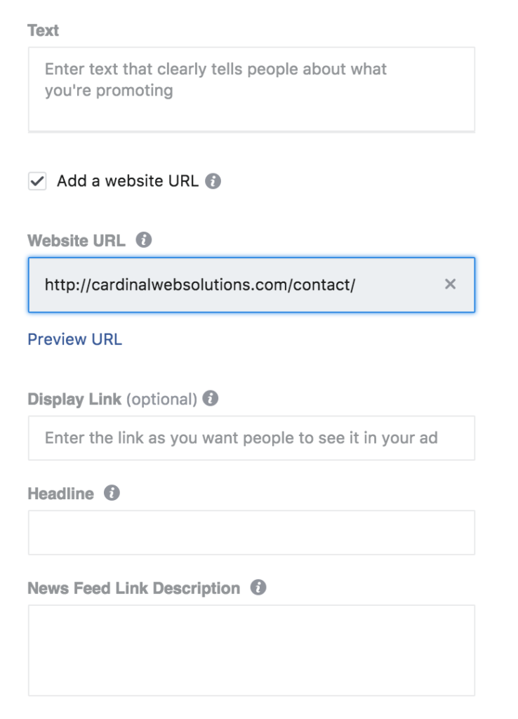 Adding text to your facebook ad