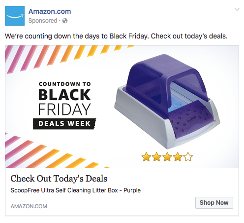Facebook news feed ad from Amazon