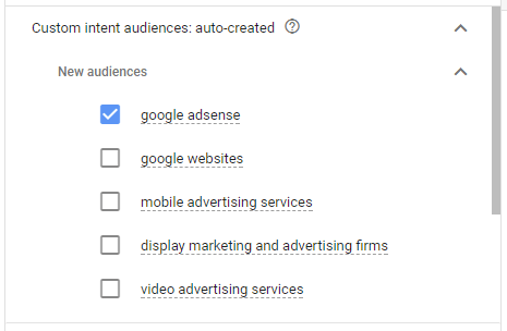 Use Google AdWords option to auto create custom intent audience
