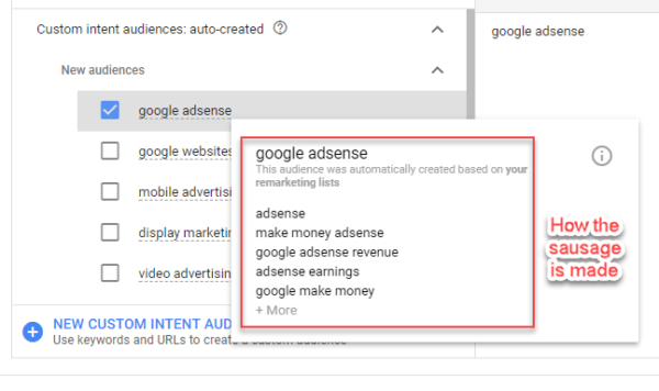 Custom Intent Audience Origin - when using auto create option