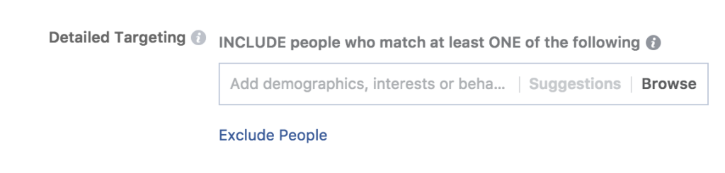 Setting up audience targeting when running facebook ad campaign with use of detailed targeting