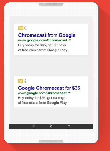 Example of different ads achieved with use of ad variations extensions