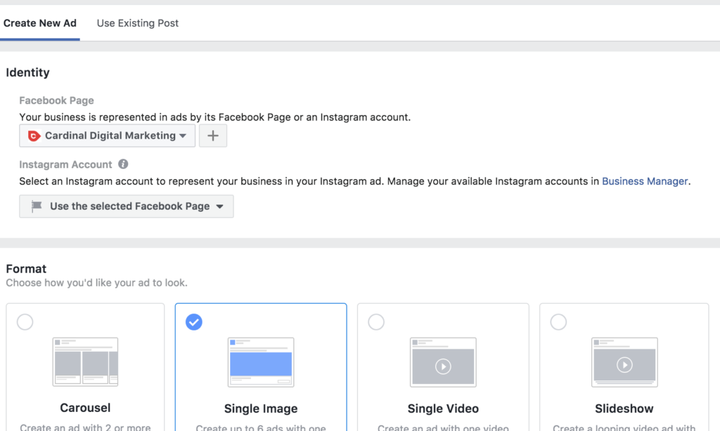 Create facebook ad, choose imagery and text