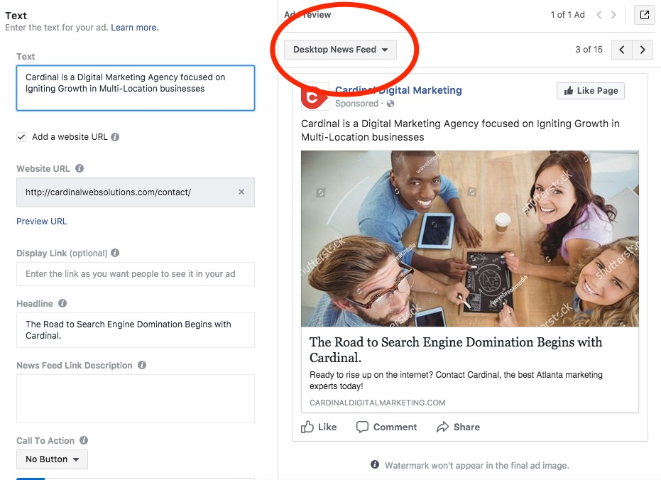 It's pretty easy to set up facebook ad copy, thanks to facebook ad preview capabilities
