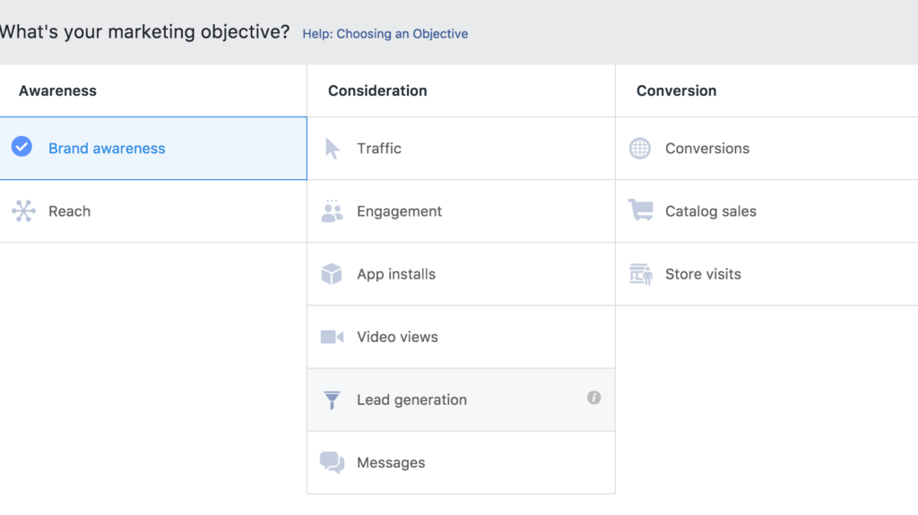 Choosing an objective is the first step when creating facebook ad campaign