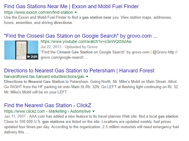 """SERP showing samples of companies optimizing websites for """"near me"""" search"""
