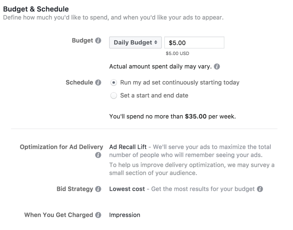 Facebook Ad Campaign - setting up budget