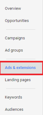 First Step in setting up Price Extension for Google AdWords